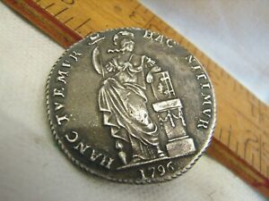 Antique 1796 Netherlands West Friesland Silver 3 Gulden (60 Stuiver) Coin Button