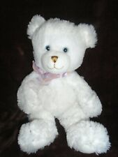 First and Main Teddy Bear White Plush Lovey Toy 1786 Dean