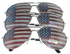 3 PAIRS of SILVER US Aviator USA American Flag Sunglasses United States stars