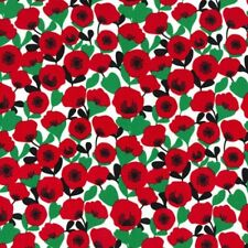 Stretch Sateen Fabric Retro Poppies Floral Flower Cotton Elastane 145cm Wide