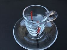 """Espresso Coffee Cup & Saucer Set,""""Cherie"""" KIMBO, 6 Cups & 6 Saucers, Clear Glass"""