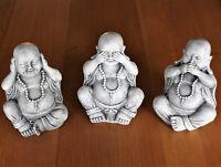 3 WISE HAPPY BUDDHA ORNAMENTS DECOR,HEAR NO, SEE NO, SPEAK NO EVIL