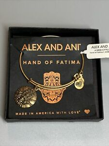 Alex and Ani Gold Tone Hand of Fatima Bracelet IOB