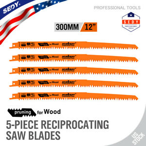 """5pc Reciprocating Saw Blades 12"""" Set Electric Wood pruning 5TPI Saw Blades"""