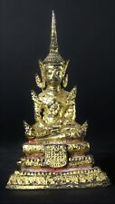 Antique Thai Rattanakosin Early 20th Cent. Lacquered & Gilded Meditation Buddha.