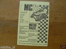 FLYER MINI MC72 AMSTERDAM MOTORCLUB INT. MOTORRACES 3-8-1975