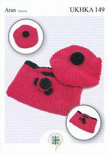 Aran Knitting Pattern for Childrens Girls Beret Hat & Floral Bag Set UKHKA 149
