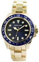 Excellanc Herrenuhr Blau Gold Analog Metall Quarz Armbanduhr X2800058002