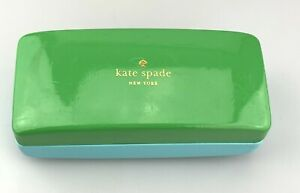 Kate Spade New York Sunglasses Case Green Blue Faux Leather Clamshell Hardcase