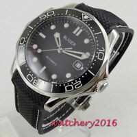 41mm BLIGER Black dial Sapphire Glass Date Miyota automatic movement Men's Watch