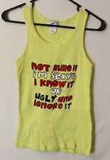 """Lati Fashion Womens Ribbed Tank Top Size Med """"Sexy & I know it"""" Funny Yellow"""
