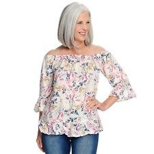 Kate & Mallory® Woven 3/4 Sleeve Off-the-Shoulder Ruffled Top Ivory Floral M
