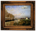 Monet The Seine At Argenteuil - Vanilla Sky Wood Framed Canvas Print Repro 11x14