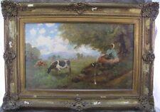 van Bernhoff Gemälde Weidende Kühe & Mädchen unter Bäumen ~ 1900
