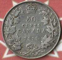 1917 Canada King George 50 Cents- 92.5% AG- 752,213 Minted Only- Nice Coin~