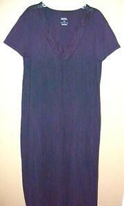 Gilligan & O'Malley Sleepwear Long Nightgown L Navy Lace Trim V Neck Cotton Bln