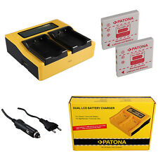 2x Batteria Patona + caricabatteria rapido DUAL LCD per Fuji FinePix V10