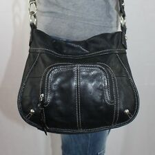 CLARKS Black Small Leather Shoulder Hobo Tote Satchel Crossbody Slouch Purse Bag