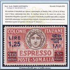 Colonie Italiane 1940 Somalia Espresso Dent. 14 n. 8 Centrato Certificato **