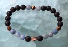 8mm Black Basalt Lava Stone Aquamarine Men's Wrist Mala Beads Bracelet