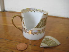 vtg Limoges gold DEMITASSE CUP tea Wright Tyndale Van Roden Charles Ahrenfeldt