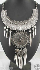 Newest Design huge Lady Statement crystal chunky chain charm coin necklace 1008