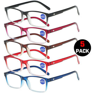 5Pack Square Blue Light Blocking Reading Glasses Women Men Anti-Eye Fatigue