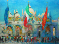 "Listed Nino Pippa Original Oil Painting Italy Venice St Mark Square12""X16"" COA"