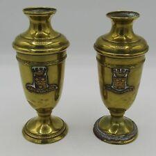 "Pair antique brass & copper vase Cherbourg seal/crest 4.25"""
