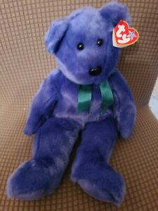 """Vintage TY Retired Purple Employee Bear Beanie Baby Buddy Collection 2000 14"""""""