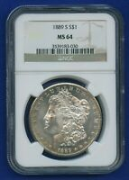 1889 S NGC MS64 Morgan Silver Dollar $1 Rare Key Date 1889-S MS-64 WOW ! Coin