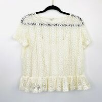 River Island Womens Top Blouse Cream Lace Cropped Short Sleeve Size 12