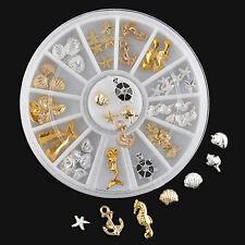 Fashion Nail Art Ocean Anchor Metal Glitter Sticker 3D Tips Decoration Wheel