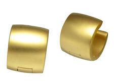 klapp Creolen Titan- Edelstahl Ohrringe gold matt Sandstrahlen 10mm EXTRA BREIT