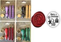 Merry Christmas Wax Stamp Sealing Starter Kit. Melt Handle +2 wax sticks. 382