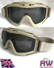 AIRSOFT METAL LARGE MESH GOGGLES PAINTBALL SAND TAN DE FAST UK DEL