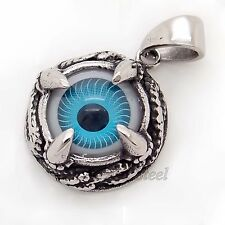 MEN DRAGON CLAW BLUE EYE STAINLESS STEEL PENDANT FREE NECKLACE