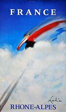 Original Vintage Poster Rhone-Alpes France Skiing Mathieu 1995