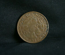 1917 Netherlands 1 Cent Bronze World Coin KM152 Lion with sword animal