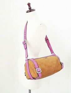 Authentic PRADA Brown Suede Purple Leather Tote Shoulder Bag Purse #2090A