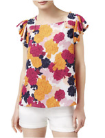 Maison Jules Womens Smocked Floral Top Size  XS, S, M, L or XL *NEW with Tag*