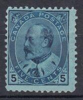 "Canada MINT OG Scott #91 5 cent blue on bluish ""King Edward VII""   F"