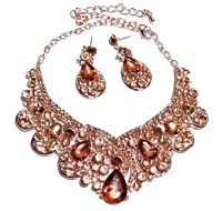 Peach Rhinestone Crystal Necklace Earring Set