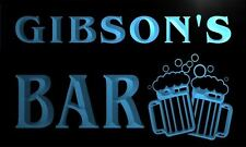 w000119-b GIBSON Name Home Bar Pub Beer Mugs Cheers Neon LED Sign