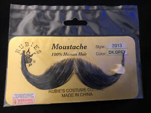 Rubies 100% Real Human Hair Fake Moustache. Dark Grey Style 2013