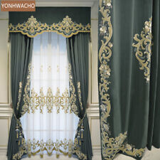 high-class European embroidered velvet cloth blackout curtain valance tulle C396
