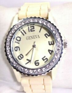 Women Geneva Watch Beige Rubber Band Silver Bezel Easy to Read Crystal Accents