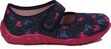SUPERFIT Schuhe Hausschuhe BLAU PINK Herzchen Textil Klettverschluss NEU