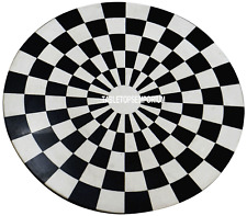 """12"""" Black Round Marble Coffee Chess Table Top Marquetry Inlay Occasional Decor"""