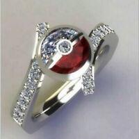 Fashion Pokemon Pikachu White Sapphire Ruby 925 Silver Ring Jewelry Gifts Unisex
